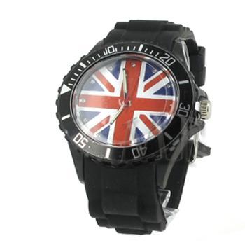 ITHAQUE montre silicone étanche noir motif anglais