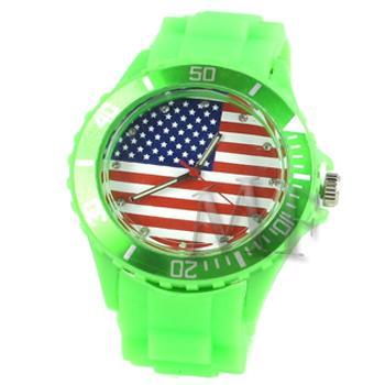ITHAQUE montre silicone étanche vert motif  USA