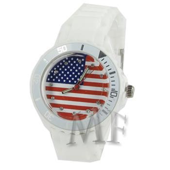 USA montre silicone blanche