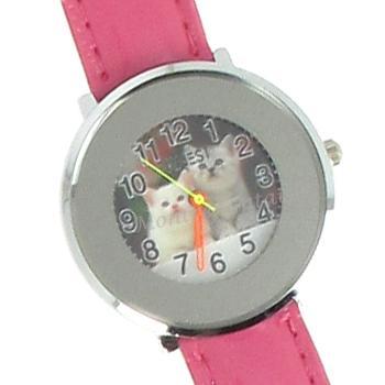 Chaton montre bracelet cuir rose