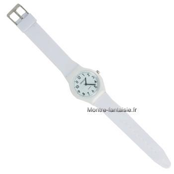 Montre ultra-plate bracelet blanc