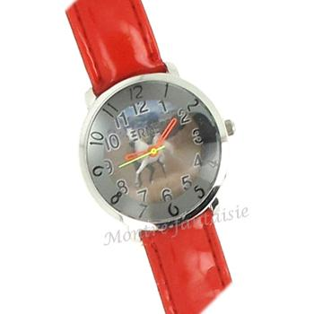 FANTAISY  montre bracelet cuir rouge