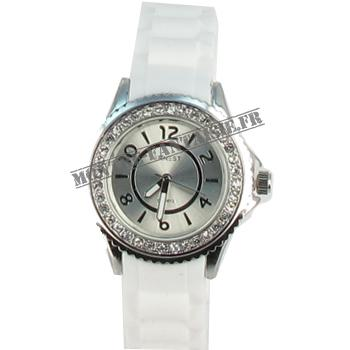 Montre femme Esther silicone blanche