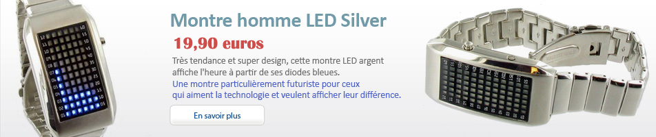 Montre homme LED Silver
